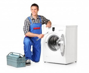 man with washing machine