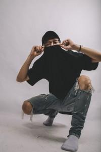 a man wearing a black shirt